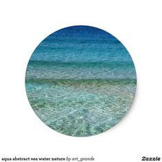 aqua abstract sea water nature classic round sticker