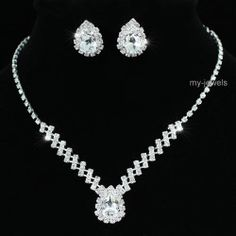 Bridal Wedding 5 Carat Crystal Necklace Earrings Set S1193
