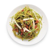 """EASY BREEZY healthy celery """"noodles"""" - shave with vegetable peeler, steam sautee, add fresh chopped tomato.  Season lightly with Cavender's and grated parmesan cheese.  Celery Recipes - Interactive Feature - NYTimes.com"""