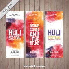 Banners abstractos del Festival Holi Vector Gratis
