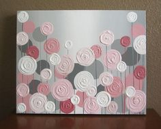 "Pink and Grey Textured Nursery Art, Original Painting on Canvas, 16x20"" READY TO SHIP"