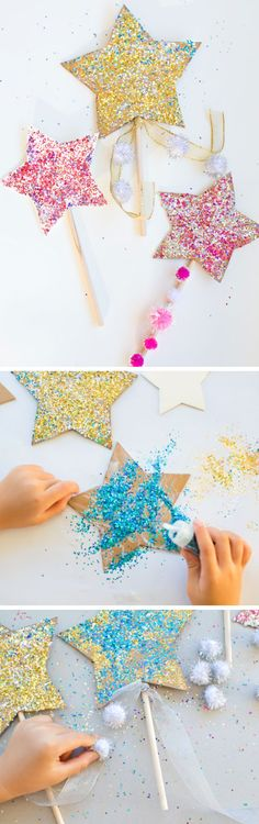 Use star wands to explore colour mixing. Use the wand to dip into different paint colours, stirring and mixing and then dip it in glue/glitter