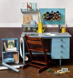Funky Desk Makeover via Design Sponge Cute Desk, Desk Makeover, Desk Revamp, Desk Areas, Drawer Handles, Drawer Pulls, Drawer Knobs, Desk With Drawers, Space Crafts