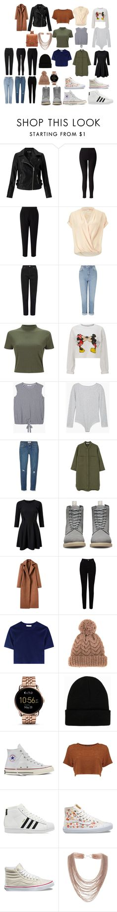"""Untitled #13"" by madambrenoj on Polyvore featuring Miss Selfridge, MANGO, Dr. Martens, EAST, 7II, FOSSIL, NLY Accessories, Converse, adidas and Vans"
