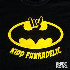 Holy Hand Signals Batman! Check out this rockin' #merch we just pulled off the press for our good friends with Kidd Funkadelic! #screenprinting #Batman #KiddFunkadelic #RockOn #signal #Tshirts #music #bandtees #funk #ShirtKong
