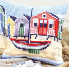 Vervaco PN-0145640 | Lrg Hole Canvas Boat Cushion Front Cross Stitch Kit | 40cm in Crafts, Tapestry & Needlepoint, Kits | eBay