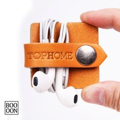 USB Cord Organizer Leather Earphone Headphone by Booooooon on Etsy
