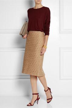 No. 21|Crystal-embellished lace pencil skirt|NET-A-PORTER.COM