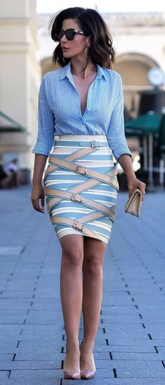 cute business outfit idea : shirt + skirt + heels