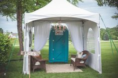 Outdoor wedding bathroom tent.