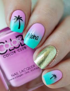 "If you're unfamiliar with nail trends and you hear the words ""coffin nails,"" what comes to mind? It's not nails with coffins drawn on them. It's long nails with a square tip, and the look has. Hawaiian Nails, Aloha Nails, Tropical Nail Art, Tropical Nail Designs, Style Tropical, Palm Tree Nails, Nails With Palm Trees, Nails For Kids, Cute Kids Nails"