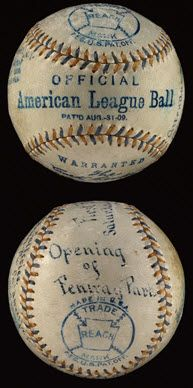 First pitched ball from 1912 opening of Fenway Park.