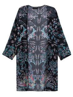 Choies Women's Chiffon Black Floral And Birds Pattern Sunscreen Kimono Coat at Amazon Women's Clothing store: