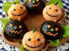 So cute for Halloween! Japanese Bento Box, Japanese Sweets, Japanese Food, Cute Bento Boxes, Bento Box Lunch, Bento Food, Food Art For Kids, Cooking With Kids, Onigirazu