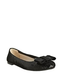 Prada black sequined bow flats