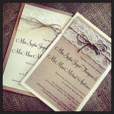 Lace Wedding Invitations..fits in perfectly with the vision I have for our wedding!