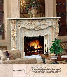 Marble Mantels | Fireplace Mantles | Marble Fireplaces | Hearths | Mantels | Custom Designed Foliage Design Marble Fireplace  Foliage Design Marble Fireplace  MFP-1145