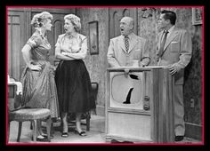 Battling foursome consists of Lucille Ball, Vivian Vance, William Frawley and Desi Arnaz. In this sequence, Ricky (Desi Arnaz) short-circuits the television set he and Lucy presented to their friends and neighbors as an anniversary present. I Love Lucy Show, Love Is All, Love Her, William Frawley, Vivian Vance, Desi Arnaz, Hollywood Heroines, Lucille Ball, Classic Tv