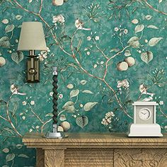 Blooming Wall Vintage Flower Trees Birds Wallpaper for Livingroom Bedroom Kitchen,57 Square Ft. Green Blooming Wall