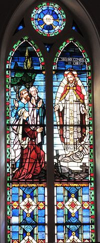 The Second Coming of Christ stained glass window at St. Matthew's German Evangelical Lutheran Church in Charleston, South Carolina