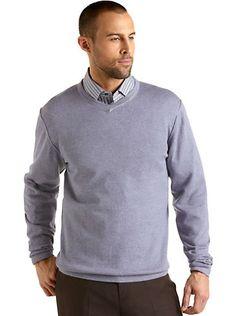 Pronto Uomo Chambray Cotton Cashmere V-Neck Sweater. Looks stylish and comfortable.