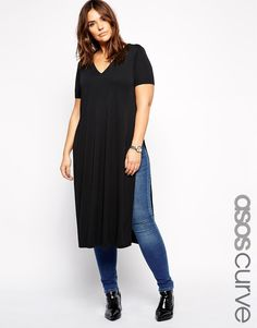 Image 1 of ASOS CURVE Longline Tunic with Split Sides
