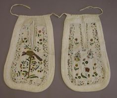 Pockets, pair, embroidered, early-mid 1700's