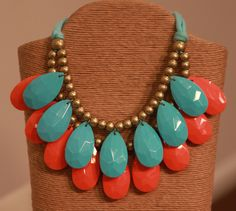 Coral and Turquoise Statement Necklace from Southern Jewelry Auctions on Facebook!