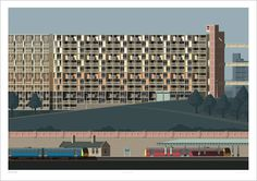 Sheffield in all it's glory. Streets in the Sky (Park Hill, Sheffield) Sheffield Art, Litho Print, Park Pictures, Poster Prints, Art Prints, Posters, Sky Art, Urban Landscape, Local Artists