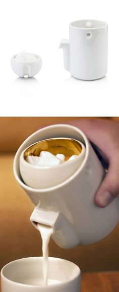 Milk + Creamer - sugar bowl stays in place while you tip the pitcher