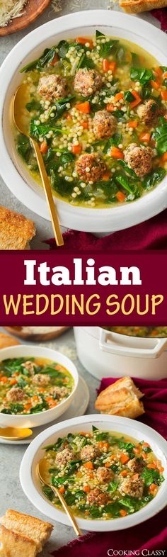 Italian Wedding Soup - Cooking Classy A delicious and hearty soup made with bite size herbed beef and pork meatballs, veggies and acini de pepe pasta. So good it may become a new favorite! Healthy Soup Recipes, Cooking Recipes, Cooking Games, Sausage Recipes, Sopas Light, Beef And Pork Meatballs, Vegan Meatballs, Italian Meatballs, Italian Wedding Soup Recipe