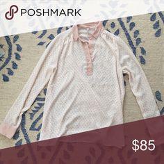 Free People satin blouse, never worn semi-sheer, pale pink print of horses Free People Tops Blouses