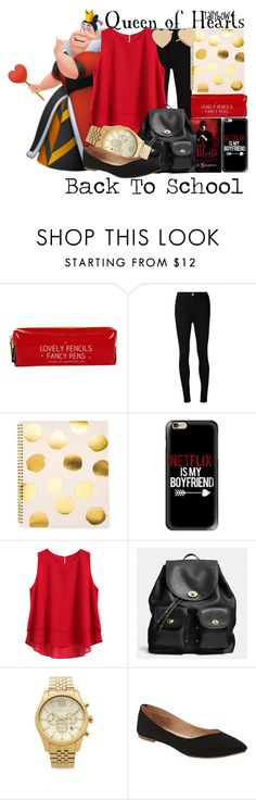 """Queen of Hearts"" by tallybow ❤ liked on Polyvore featuring Happy Jackson, AG Adriano Goldschmied, Sugar Paper, Casetify, Coach, Michael Kors, Old Navy and Kate Spade"