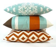 """Premier Stripe Decorator Pillow Cover with Same Fabric on Both Sides- Village Blue, Rust, Brown & Natural - To cover 20""""x20"""" Pillow Form"""