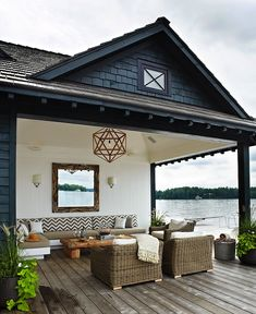 Anne Hepfer Designs: Lakeside cottage covered deck with beadboard ceiling and wood polyhedron pendant. White ...