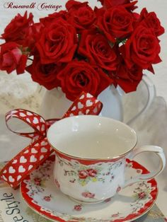 Red roses with my tea!!