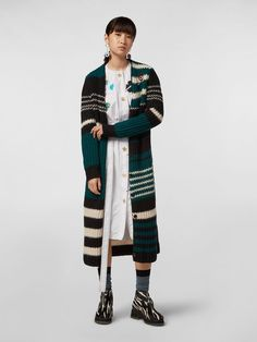 WANDERING IN STRIPES Extra Long Cardigan In Alpaca And Virgin Wool from the Marni Spring/Summer 2020 collection Women. Shop online on the official store and discover the full catalogue. Cool Coats, Long Cut, Alpaca Wool, Cool Sweaters, Wool Cardigan, Marni, Spring Summer, Fashion Outfits, Fashion Design
