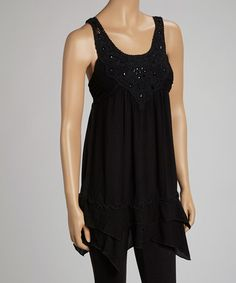 Take a look at this Black Beaded Lace Handkerchief Tank by Simply Irresistible on #zulily today!