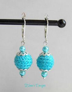 Cute Turquoise Crochet Earrings Leverback