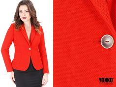 Sacoul office KARI  stofa elastica texturata, decolteu adanc. Variante cromatice: rosu / bleumarin / negru  YOKKO | fall16