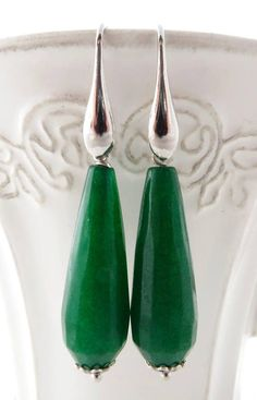 Green Emerald Drop Earrings Jade 925 Sterling