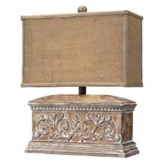 "Antiqued table lamp with a scrolling relief. Product: Table lamp   Construction Material: Composite and fabric     Color: Beige   Features:   Antique-inspired design   On/off line switch      Accommodates: (1) 40 Watt type G medium bulb - not included Dimensions: 17"" H x 12.5"" W x 6"" D"