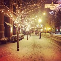 Snowy night in Yorkville, Toronto.