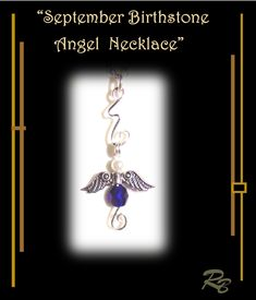 September birthstone necklace, angel necklace, angel wings