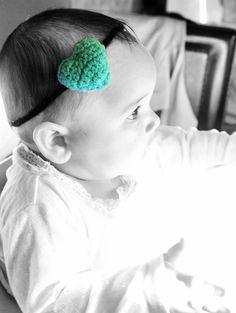 3 to 6m Baby Heart Green Headband - Crochet Love Heart Baby Headband Green Black Plush Skinny Headband Baby Photo Prop #children #kids #kidsfashion #headband #baby #newborn #babygirl #babyshower #forgirls #babyshowergift #babamoon #etsy #mom #babygifts #cutegifts #gift #girl #products #accessories #babies #heart #greenheart #green #greenheadband #heartheadband #