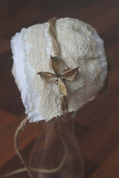 Organic lace newborn bonnet by WildDragonflyDesigns on Etsy, $27.00