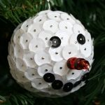 Snowman sequin ornament. I am working on one right now - this is a great idea for the nose