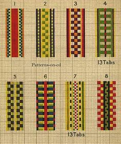 "Patterns for tablet weaving. Repinned by Elizabeth VanBuskirk on ""Art & Weaving Teaching Ideas."" (For teachers, see my book ""Beyond the Stones of Machu Picchu: Folk Tales & Stories of Inca Life"" with stories about children, adults--even mice weaving.)"