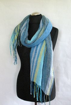 Linen Scarf Washed Striped Turquoise Azure Blue by Initasworks