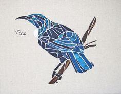 Tui by Tegan Montgomery-Williams for the Apple Basket Mosaic Birds, Mosaic Art, Mosaics, Apple Baskets, Basket Crafts, Mosaic Bathroom, Basket Quilt, Applique Ideas, Animal Quilts